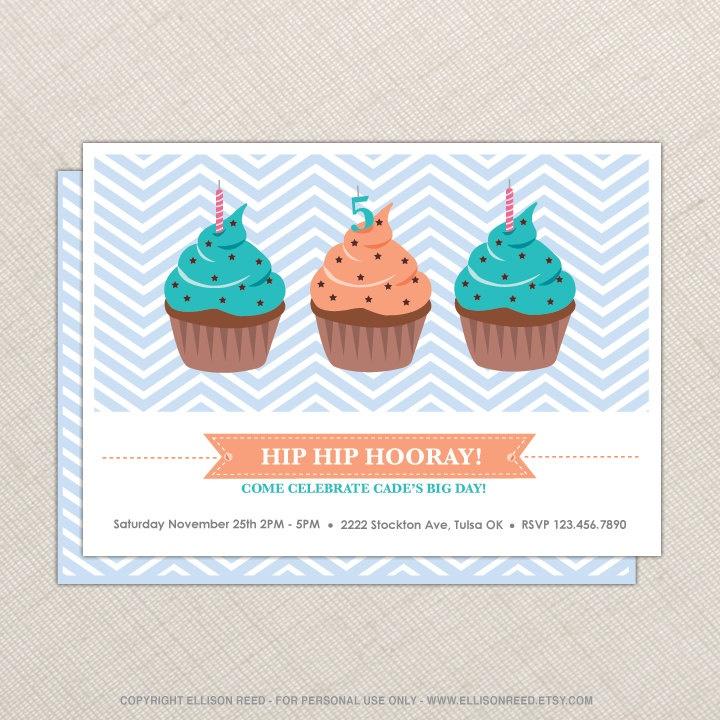 50 best cupcake invitations images on pinterest cupcake cupcake invitation cupcake birthday party chevron pattern sweet birthday boy blue stopboris Image collections