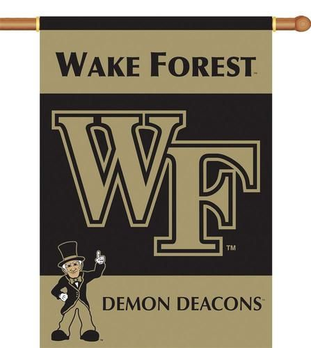 Wake Forest Demon Deacons flag. This Wake Forest Demon Deacons premium two sided 28'' x 40'' banner is lined for clear visibility from both sides. Made of heavy-duty 150 denier polyester and has a 1.5