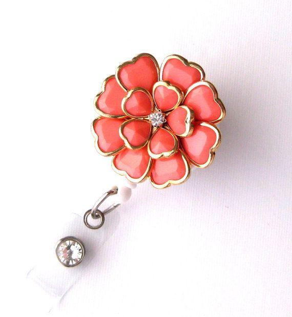 Coral Bloom  Pretty Badge Holder  Unique Badge Reels Teacher Gifts by BadgeBlooms, $18.00
