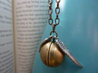 Golden Winged Ball Locket Necklace - Wizard Jewelry by Weirdly Cute - Etsy