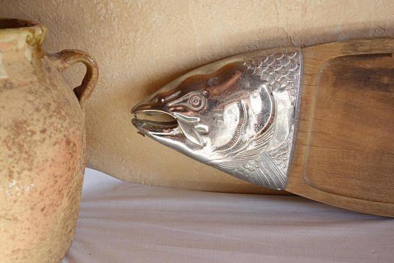 Superb Large Cutting Board Fish Salmon Platter Kitchenalia  / Cutting Board  Vintage French / Chopping Block