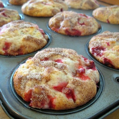 Fresh Strawberry Muffins - Real Mom Kitchen - just made this morning for Father's Day...2 sticks of butter, fresh strawberries and yummy!