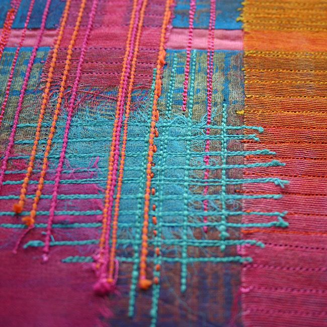 Ruth Issett -- Colour Grid __   Exploration of energetic colour using dyed and printed cotton and silk fabrics, layered with hand and machine stitched. 2011