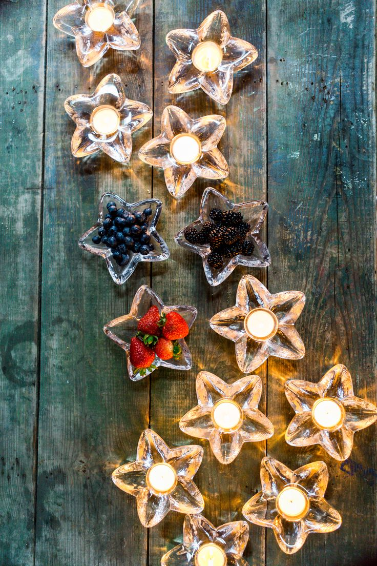 starry night: set a summer table with Simon Pearce tea lights and bowls