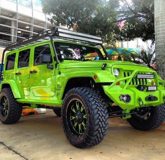 LIME GREEN 4 DOOR JEEP JK FOR THE FAMILY AND OF COURSE MUCH MUCH MORE!