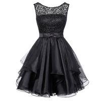 Short Prom Dresses 2016 Grace Karin Cheap Black Lace Prom Dresses Under 50 Sexy V Back Summer Prom Party Dresses GK1012