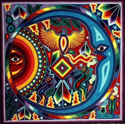 Huichol yarn art of a vision received in a peyote ceremony