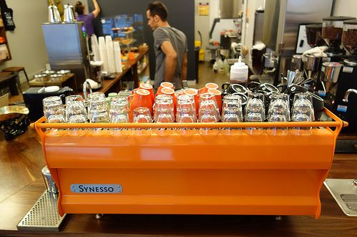 Custom orange synesso espresso machine cafe grumpy w 39th st 7th ave - Machine a cafe design ...