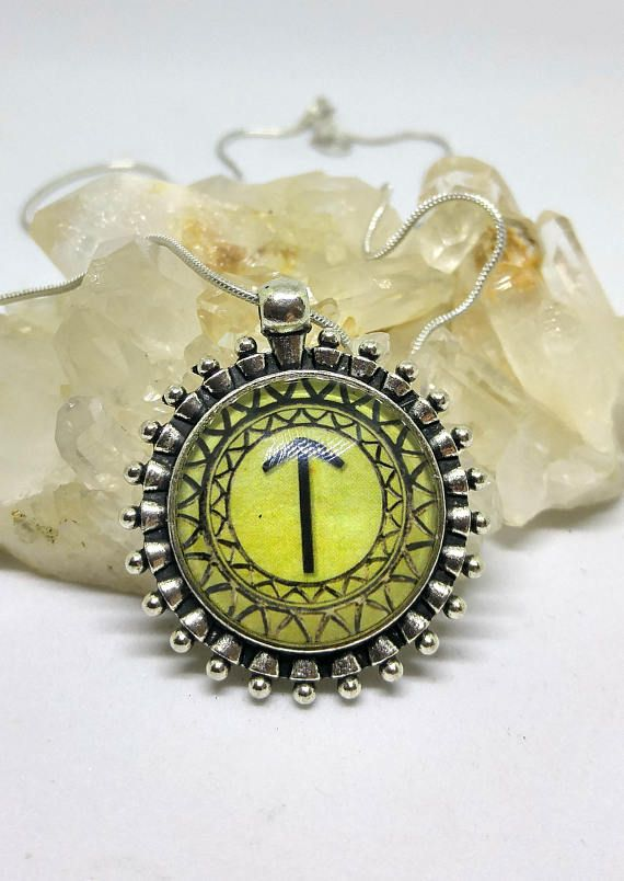 TYR Tiwaz Spiritual Warrior Rune Symbol Pendant Viking Glass Dome Cameo Necklace SCA Medieval Norse Rune Magic Pagan Metaphysical Gift