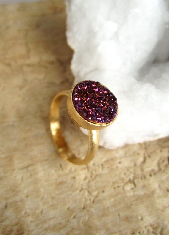 Prune bague Druzy titane Quartz Druzy Bague par julianneblumlo