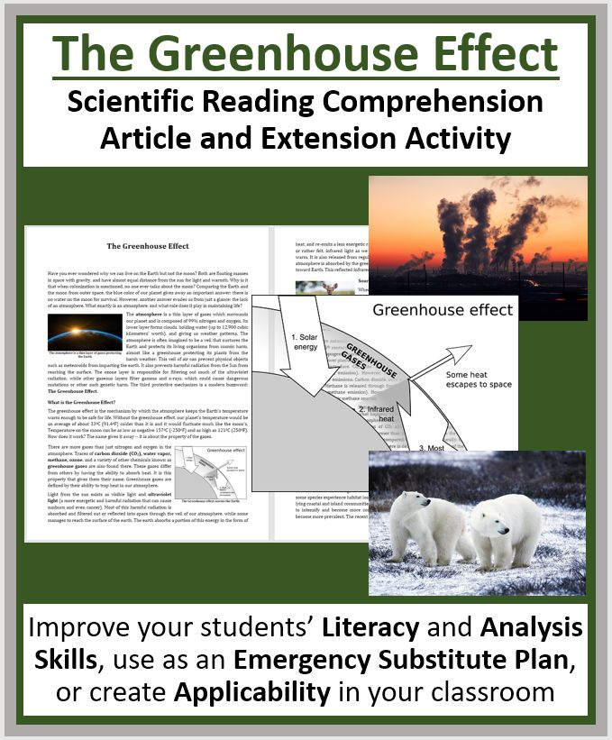 Greenhouse Effect. This resource is suitable for high school students as well as strong middle-school students. Tackle literacy and science by having your students read and answer questions from a scientific article. Questions include knowledge (direct from the paper), thinking, connecting, application and open-ended varieties.