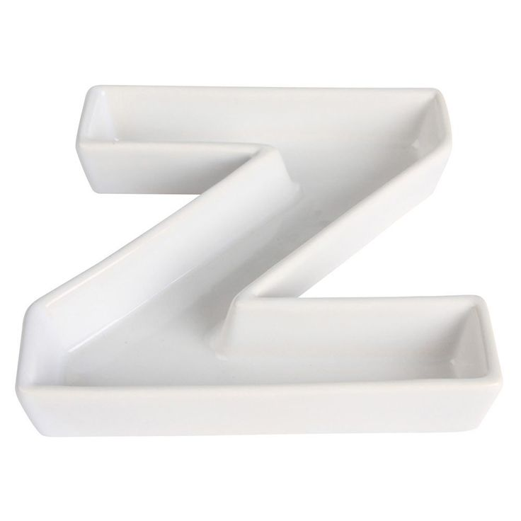 ceramic letter dish z shaped candy dish 6 inch white