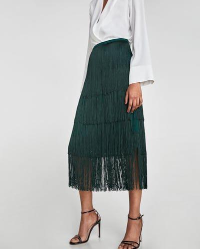 4e4caba06 Imagen 2 de FALDA FLECOS LARGOS de Zara | Fashion en 2019 | Falda ...