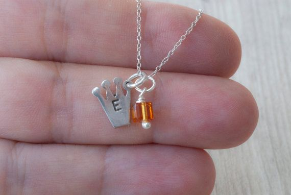 Personalized Initial Crown Necklace Hand by PiscesAndFishes
