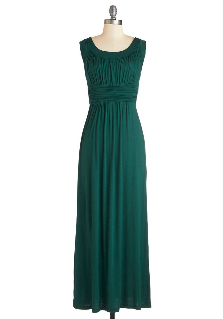 First Classic Dress in Forest. A full day of traveling doesnt mean a day without signature style - slip into this forest-green maxi dress prior to departure, and youll keep the airplane cabin classy and fabulous! #green #modcloth