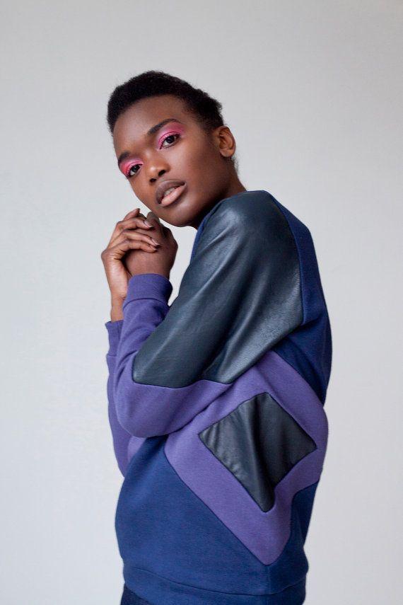 SALE // Yaye oversized panelled jumper sweater / ladies cotton sweater / ladies jumper / purple jumper / leather jumper