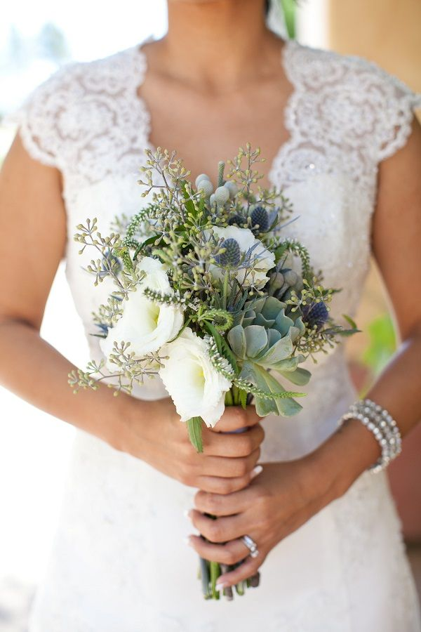 Succulents, White Veronica, Blue Eringum Thistle, Brunia Berries and Seeded Eucalyptus Bouquet