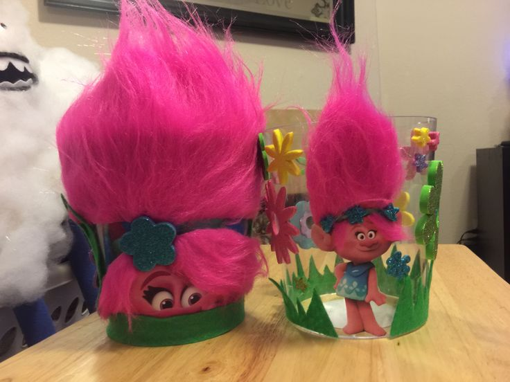 Centerpiece for a Trolls themed birthday party.