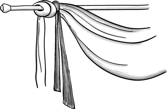 How to Make Scarf Swags for Your Windows - For Dummies - easy instructions for DIY swags - the best I've seen among several sites (though doesn't mention pleating + pinning, if you want to do) - this is for single swag - can be applied to double, but more difficult to find measurements on fabric - I *DO* like the idea of securing with a ribbon or tassel  +++++++++++++++++ dummies.com #swag #scarf #curtains