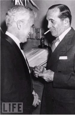 """Charlie Chaplin and Al Jolson, El Morocco nightclub, New York, 1947. """" Al Jolson starred in first commercially successful talkie - """"The Jazz Singer"""" 1927. Charlie Chaplin in """"Modern Times"""" 1936, considered by many the last of the silent era. """""""