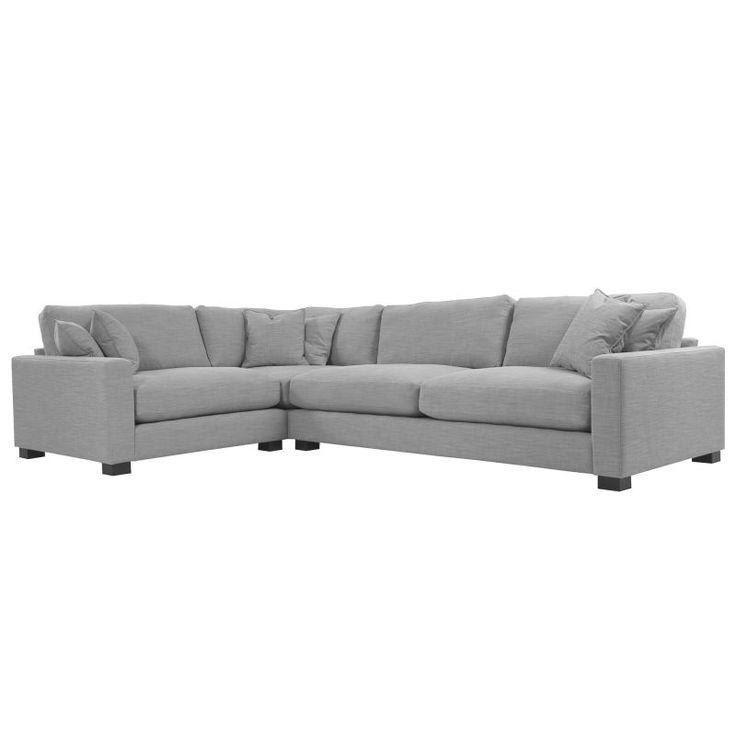 Grå Valen L-soffa, hörnsoffa, linne, dun, djup, låg, stor, rymlig, möbler, inredning, vardagsrum, soffa.
