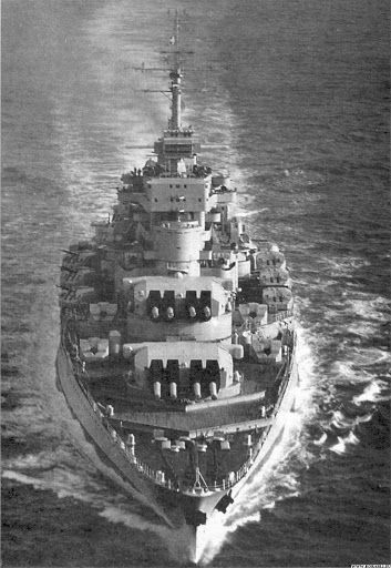 Front view of battleship Jean Bart, the largest ever French-built warship till present!