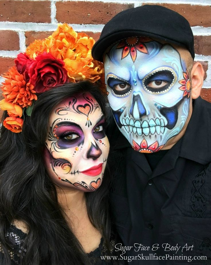 amazing sugar skull makeup by shawna del real and ronnie mena sugarskull diadelosmuertos - Halloween Skull Face Paint Ideas