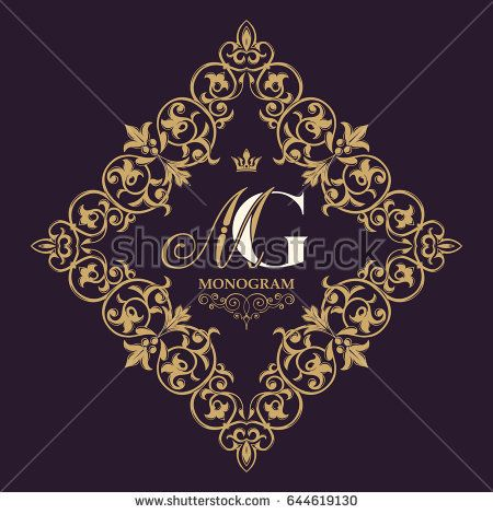 Gold decorative frame. Vector logo templates. Monogram, initials, jewelry. Elegant emblem logo for restaurants, hotels, bars and boutiques. It can be used to design invitations, booklets and brochures