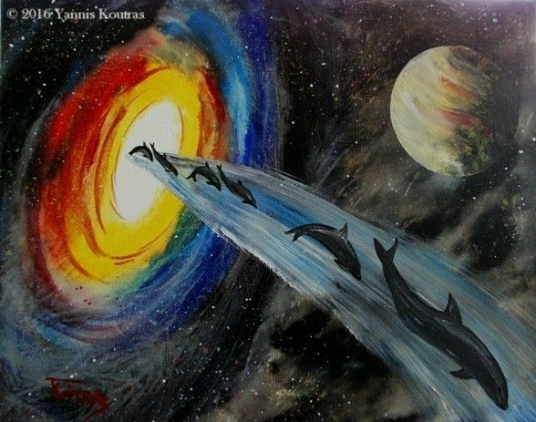 "Space Dolphins - Fantasy art - Acrylic on Canvas By Yannis Koutras ""YannisArt""  http://yannisart.webnode.com/"