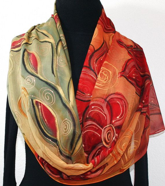 53 best Silk scarfs - hand painted images on Pinterest ...