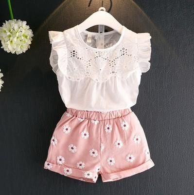 bed1b628b9cf White eyelet lace tee with pink floral shorts. White eyelet lace tee with  pink floral shorts Kids Wear