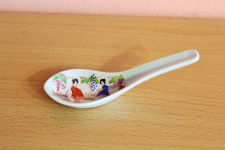 Vintage Japanese Porcelain Geisha Girl Rice Soup Spoon Signed Nippon Rising Sun Collectible Made in Japan by Grandchildattic on Etsy