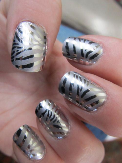love silverZebras Stripes, Nails Art, Metals Zebras, Nails Design, Silver, Animal Prints, Nails Polish, Zebras Prints, Zebras Nails