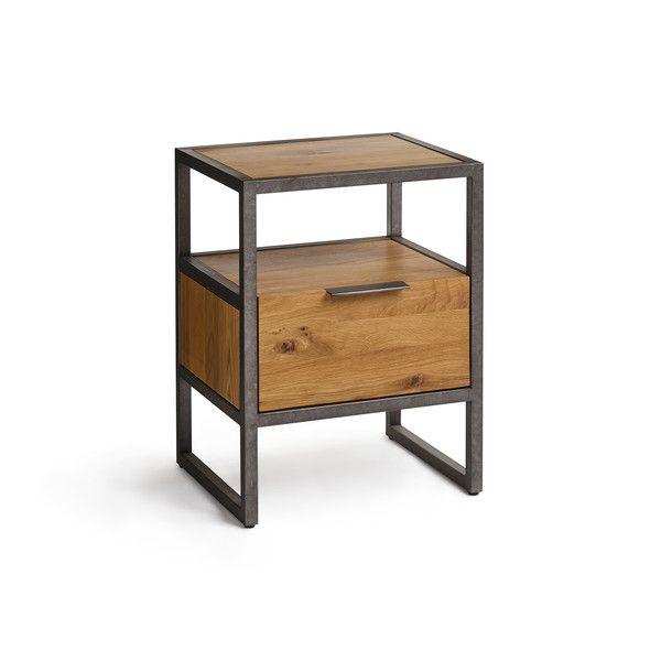 Natural Solid Oak And Metal Bedside Tables Bedside Table