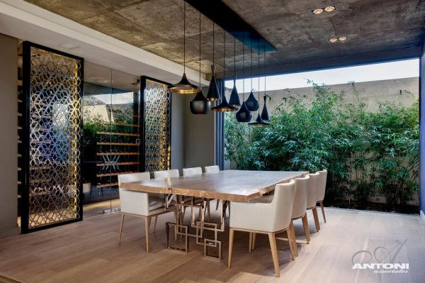 Tom Dixon Beat LightsPearls Valley, Dining Room, Antoni Association, Valley 276, Capes Town, South Africa, Interiors Design,  Terraces, Modern Interiors