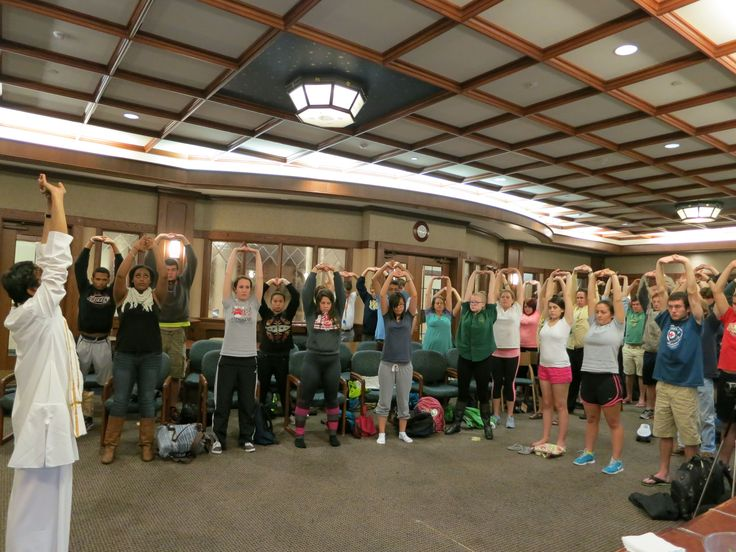 Stretching exercises at University of Notre Dame 2013