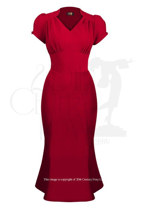 1940s Victory Wiggle Evening Dress - Red