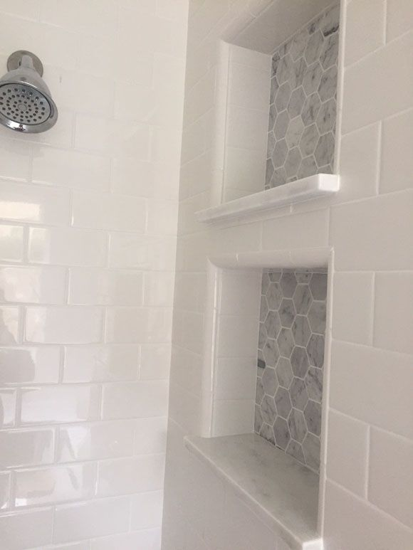 master bathroom reveal dual shower cubbies more