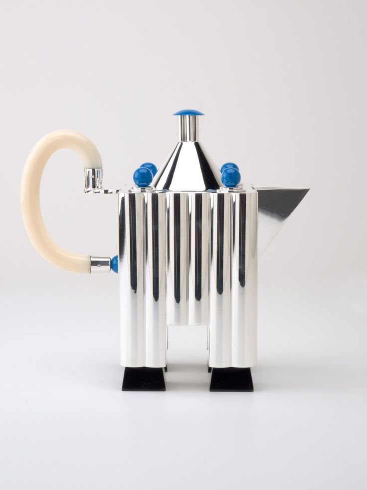 "Designed by Michael Graves (American, b. 1934), manufactured by Alessi S.p.A. (Italian), ""Tea & Coffee Piazza Service,"" 1983; Indianapolis Museum of Art, 2011.2.1-.5A-C"
