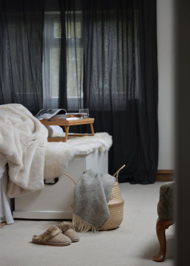 black linen curtains -already have these in the bedroom, so maybe a play on dark greys and whites elsewhere?