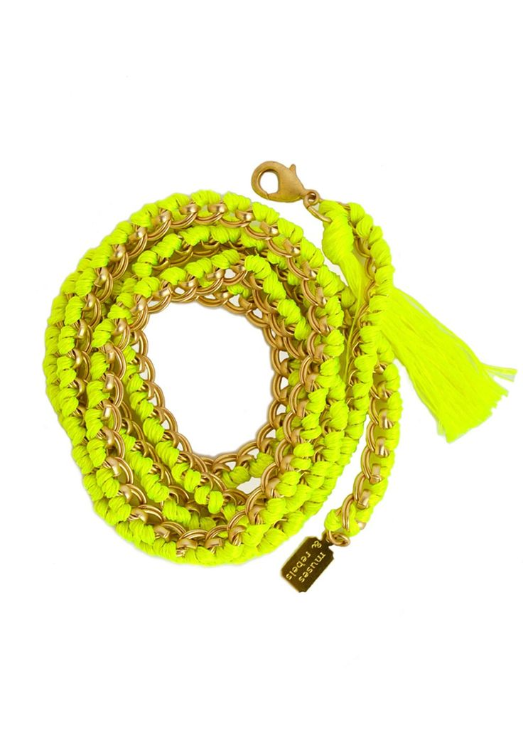 MUSESE & REBELS - long chain - satin gold neon yellow - body jewelry - women - muses & rebels