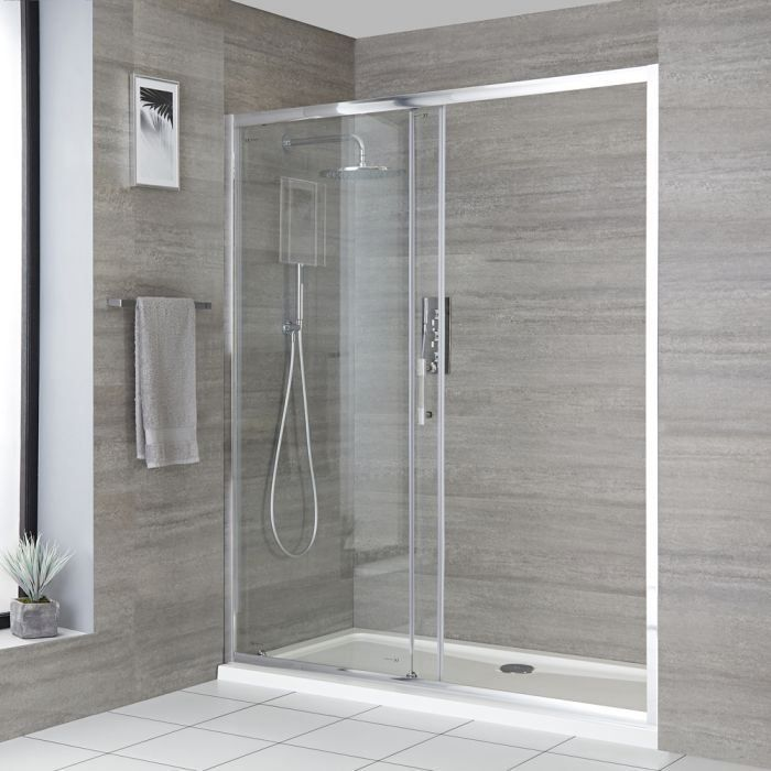 Milano Portland Sliding Shower Door Choice Of Sizes And Side Panel 1000 In 2020 Shower Doors Sliding Shower Door Coastal Shower Doors