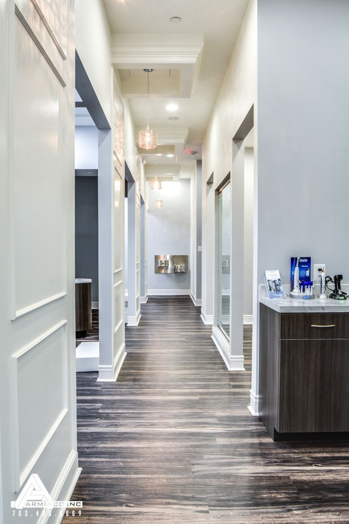 Paneled Hallways and Organic Light Fixtures. Sky Grey Walls, Darker  Cabinetry (option to. Dental Office DesignDental Office DecorOffice DesignsOptometry  ...