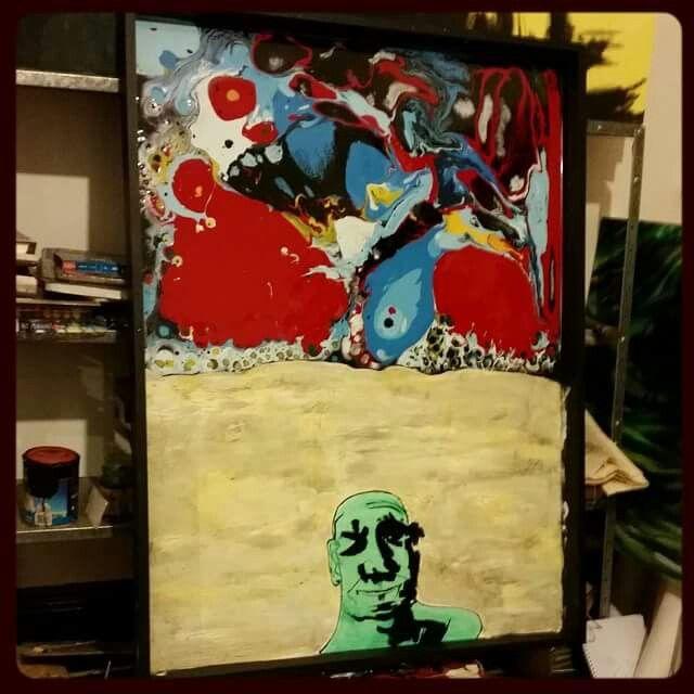 Oil paint, acrylic paint, enamel & epoxy resin on board