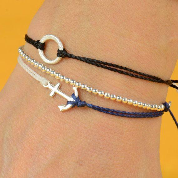 Anchor bracelet: Tiny Anchors, Diy'S Anchors Bracelets, Stuff, Simple Bracelets, Sterling Silver, Anchor Bracelets, Charms Bracelets, Accessories, Diy'S Jewelry