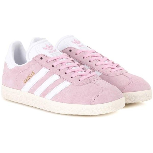Adidas Originals Gazelle Suede Sneakers ($120) ❤ liked on Polyvore featuring shoes, sneakers, pink, adidas originals shoes, pink suede shoes, suede leather shoes, pink shoes and adidas originals