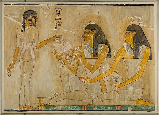 Nina de Garis Davies (1881–1965). Women at a Banquet, Tomb of Rekhmire, ca. 1479–1425 B.C. The Metropolitan Museum of Art, New York. Rogers Fund, 1930 (30.4.78)