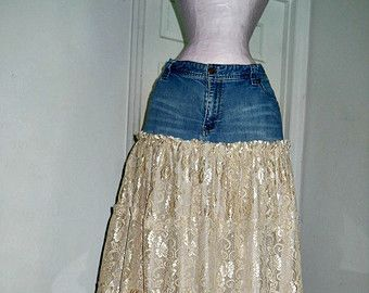 Belle Époque ruffled jean skirt almond beige taupe  bohemian