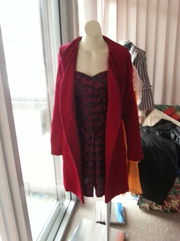 Red courderoy coat with silk dress