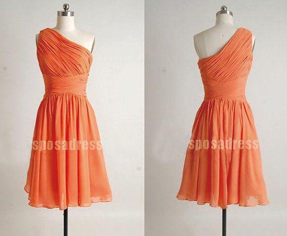 one shoulder short prom dress,short bridesmaid dress, junior bridesmaid dress, short dress bridesmaid, shot prom dress, RE047 on Etsy, $92.00